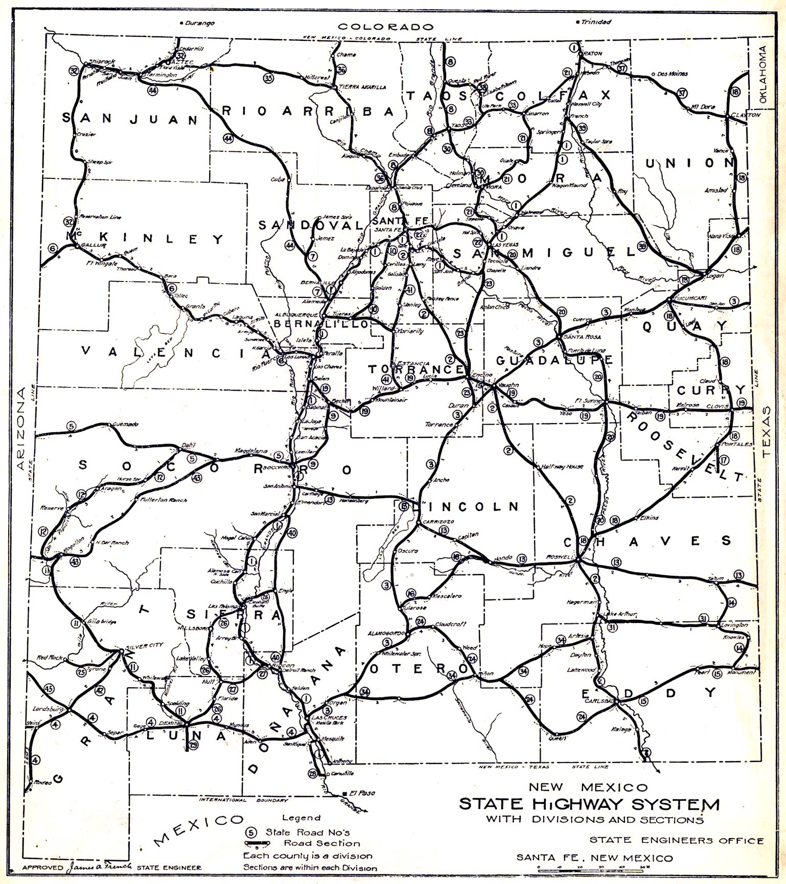1914 map of New Mexico