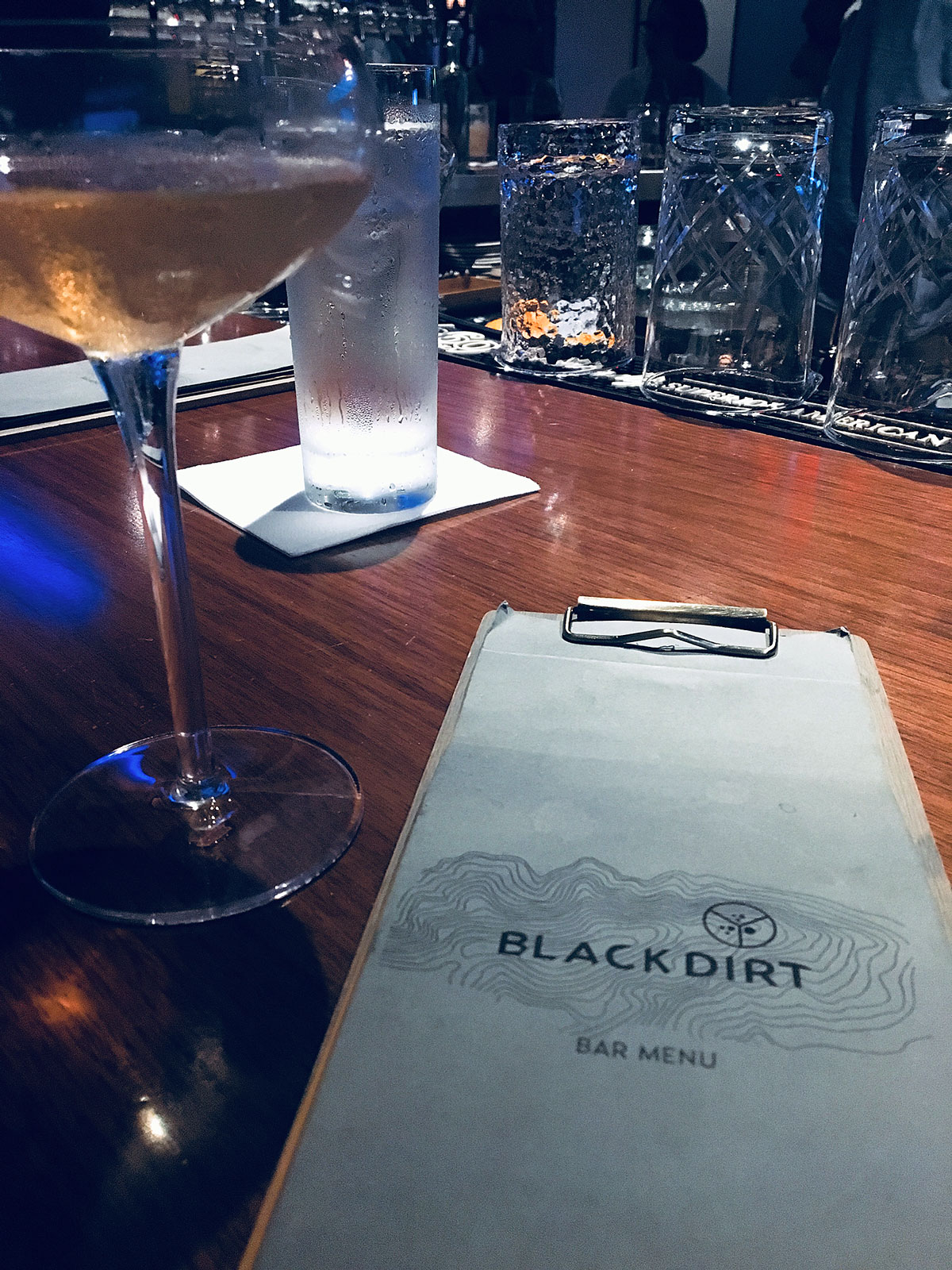 Black Dirt bar menu